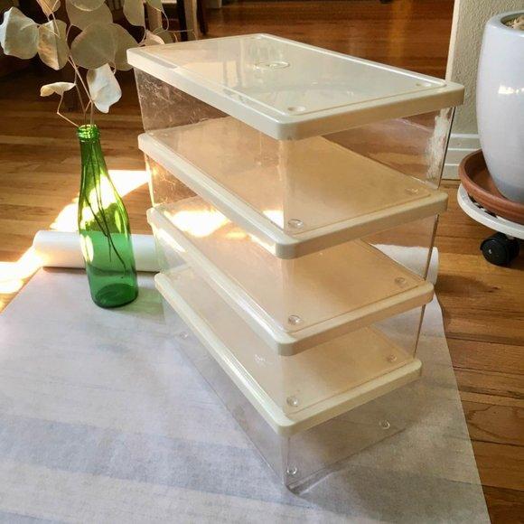 SOLD Vintage Closet Plastic Storage Boxes Set